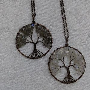 Natural stone chip tree of life necklace